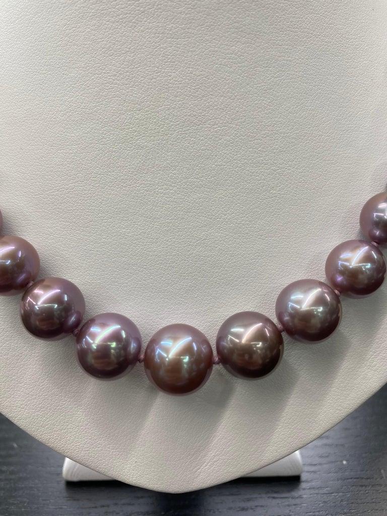 Women's Freshwater Lavender Pearl Strand Necklace 14 Karat White Gold For Sale