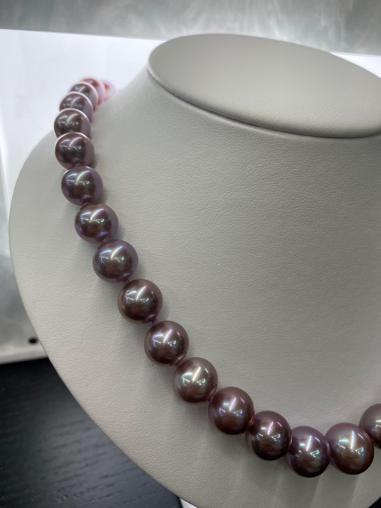 Freshwater Lavender Pearl Strand Necklace 14 Karat White Gold For Sale 2