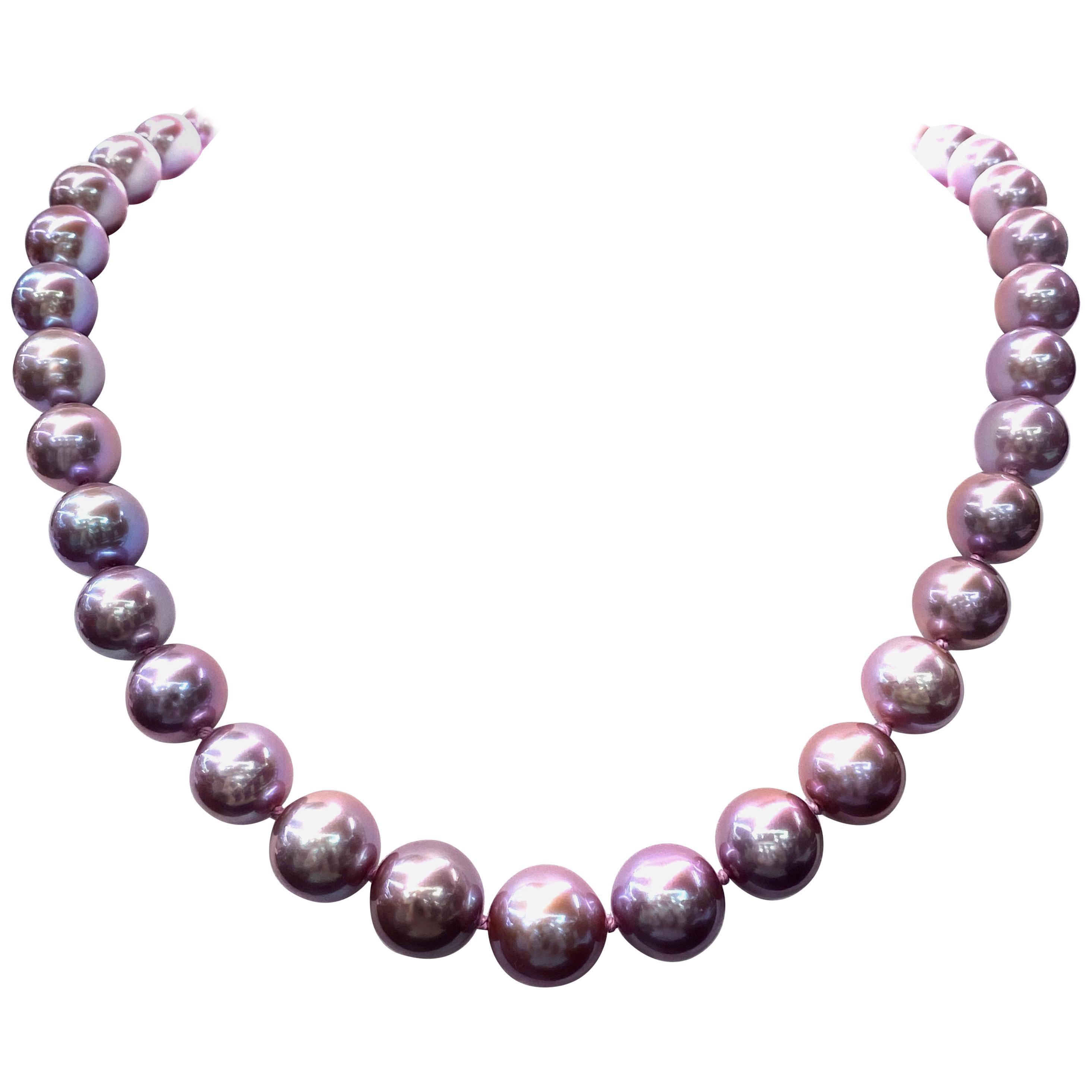 Freshwater Lavender Pearl Strand Necklace 14 Karat White Gold