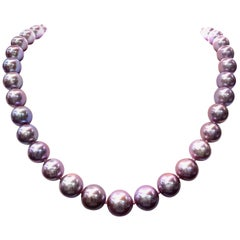 Freshwater Lavender Pearl Strand Necklace 14 Karat White Gold