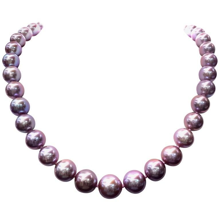 Freshwater Lavender Pearl Strand Necklace 14 Karat White Gold For Sale