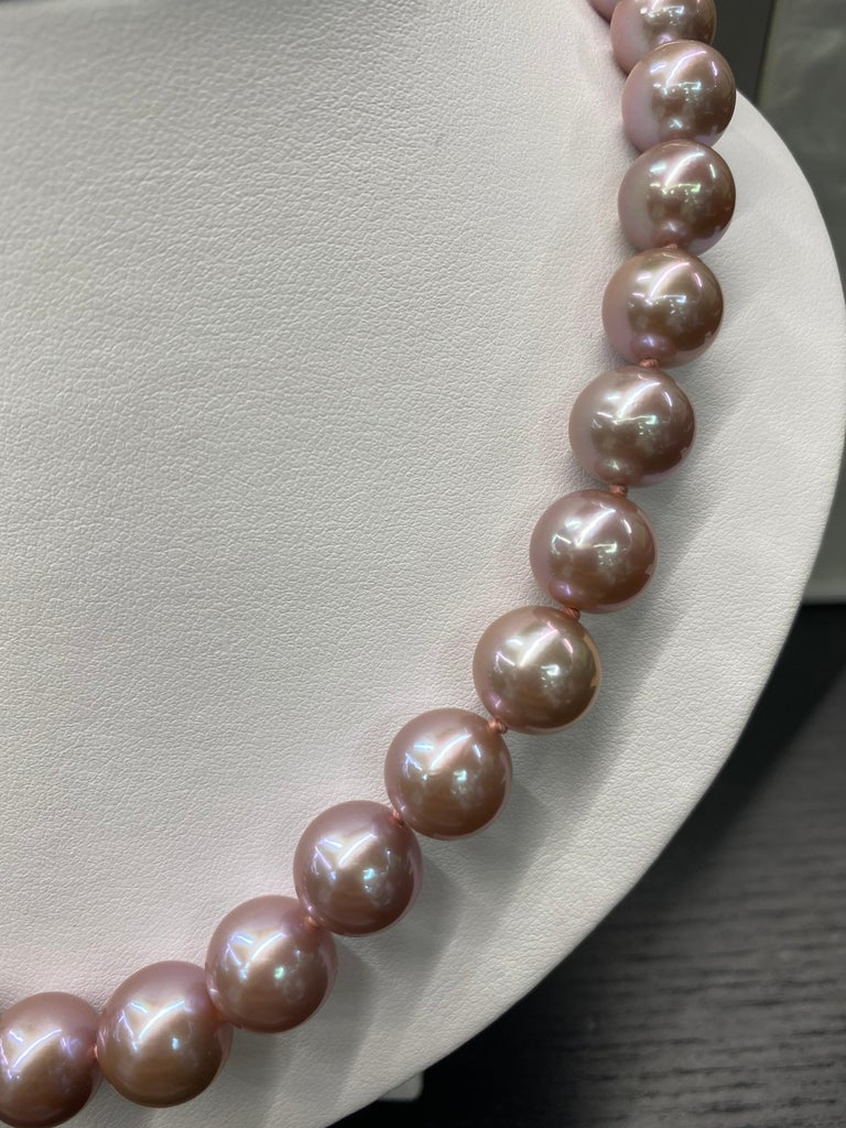 Freshwater Lavender Stand Pearl Necklace 14 Karat White Gold For Sale 5