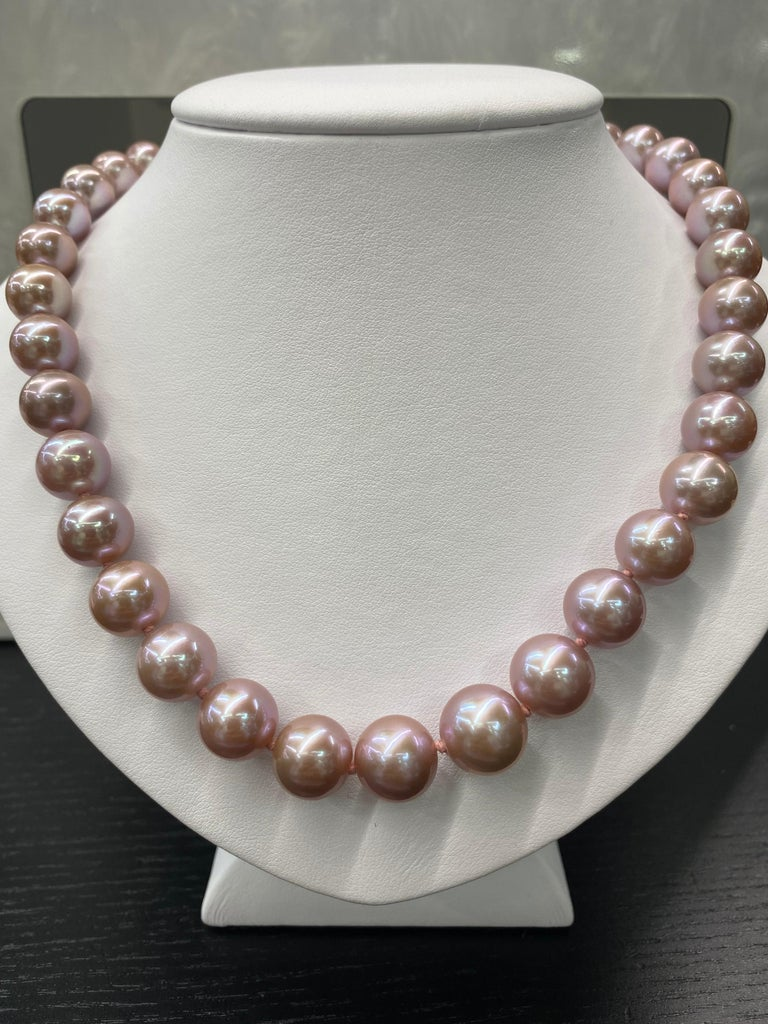 Freshwater Lavender Stand Pearl Necklace 14 Karat White Gold For Sale 6
