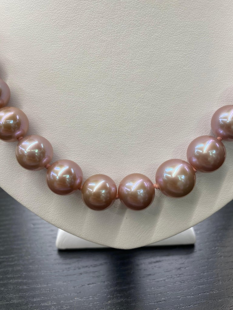 Freshwater Lavender Stand Pearl Necklace 14 Karat White Gold For Sale 7