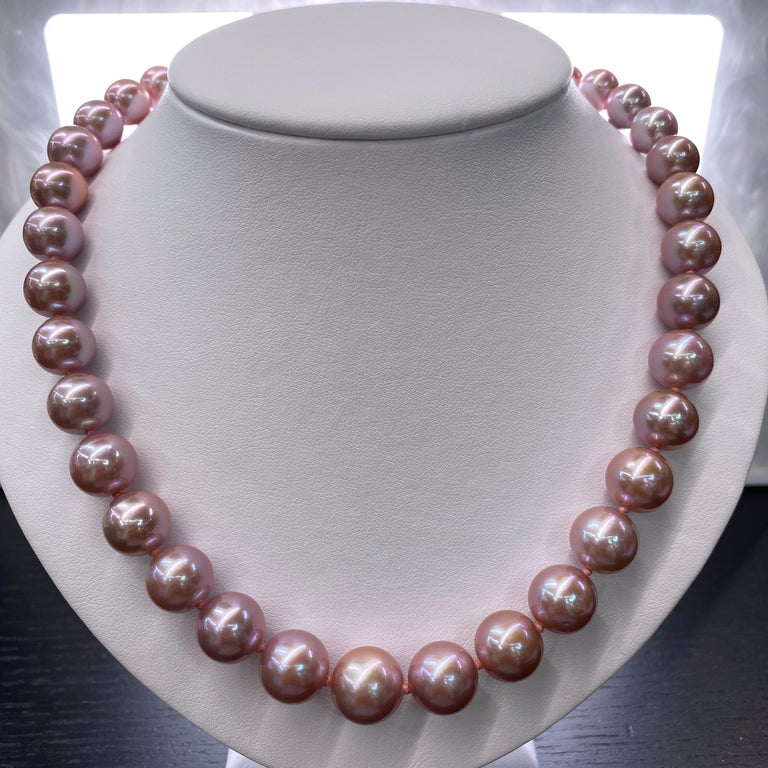 Freshwater Lavender Stand Pearl Necklace 14 Karat White Gold For Sale 8
