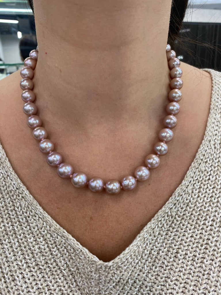 Freshwater Lavender Stand Pearl Necklace 14 Karat White Gold For Sale 2