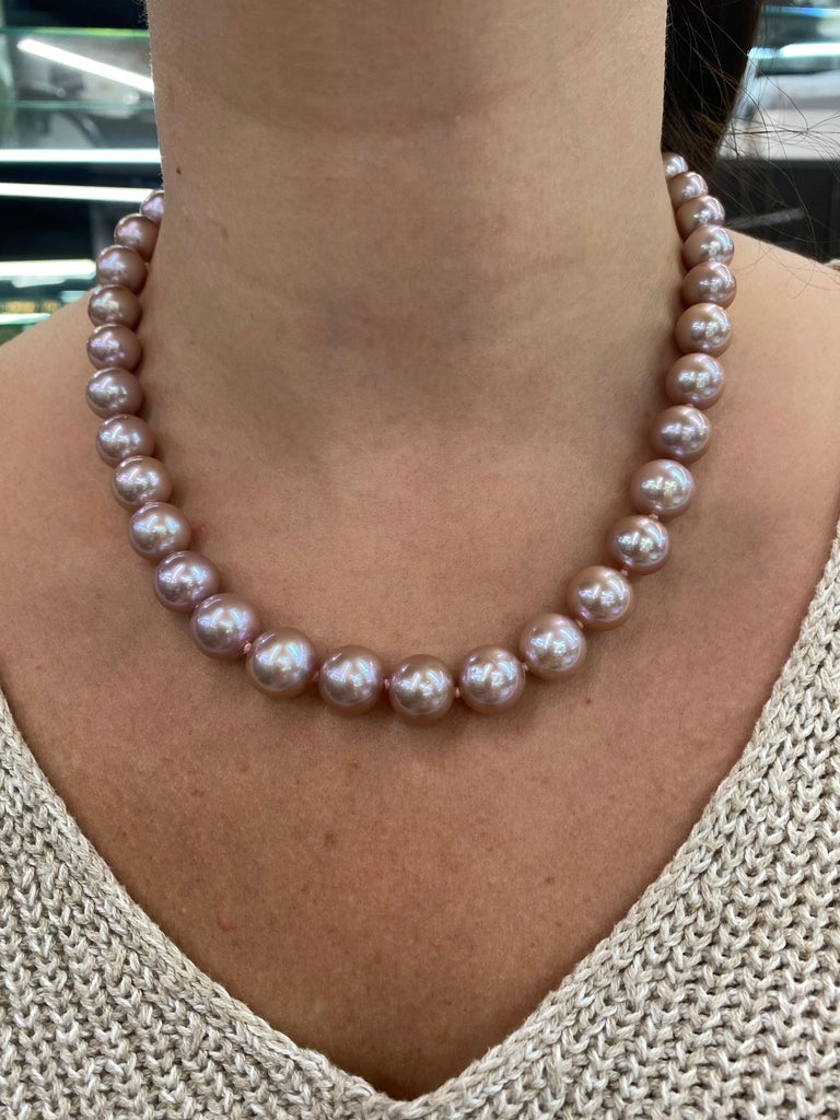 Freshwater Lavender Stand Pearl Necklace 14 Karat White Gold For Sale 3