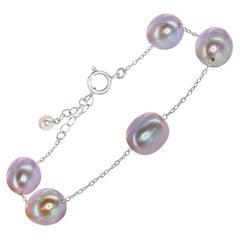 Freshwater Natural Pink Oval Pearl and Sterling Silver Tin-Cup Bracelet