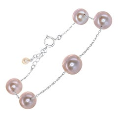 Freshwater Natural Pink Pearl and Sterling Silver Adjustable Tin-Cup Bracelet