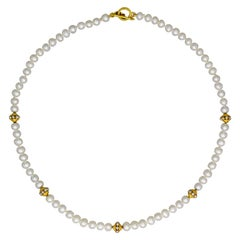 Freshwater Pearl and 22 Karat Gold Beaded Necklace