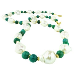 Freshwater Pearl and Amazonite Necklace
