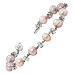 Freshwater Pearl and Diamond 18 Carat White Gold Bracelet