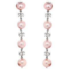 Freshwater Pearl and Diamond 18 Carat White Gold Drop Earrings