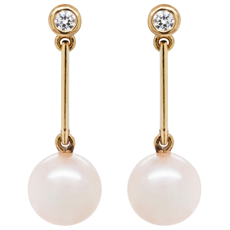 Freshwater Pearl and Diamond 18 Carat Yellow Gold Drop Earrings