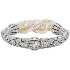 Freshwater Pearl and Diamond Cuff Bracelet