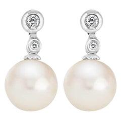 Freshwater Pearl and Diamond Stud Drop Earrings 14 Karat White