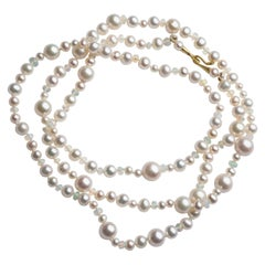 Freshwater Pearl and Moonstone Double Wrap Necklace 18 Karat Baby Cone Hk & Eye