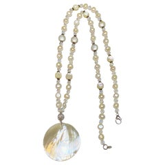 Freshwater Pearl and Mother of Pearl Beaded Necklace w Large Pendant