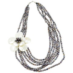 Freshwater Pearl and Mother of Pearl Multi Strand Necklace