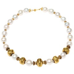 Freshwater Pearl and Old Wax Gold Necklace