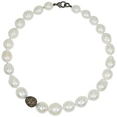 Freshwater Pearl and Pavé Diamond Beaded Collar Necklace