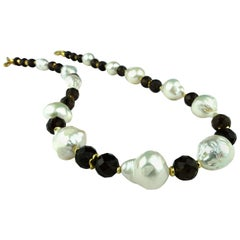 Freshwater Pearl and Smoky Quartz Necklace