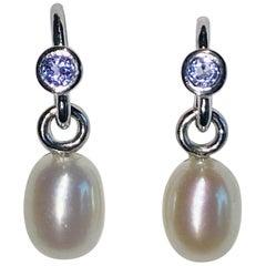 Freshwater Pearl and Tanzanite Earrings