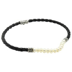 Freshwater Pearl Black Leather Braid Necklace with Sterling Silver Clasp