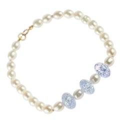 Freshwater Pearl Crystal 18 Karat White Gold Beaded Handmade Modern Bracelet