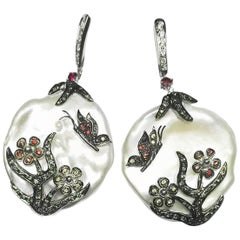 Freshwater Pearl, Diamond, Ruby, Tsavorite and Sapphire Earrings Set in 18K Gold