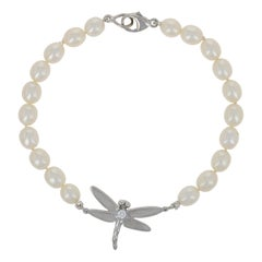 Freshwater Pearl & Diamond Tiffany & Co. Dragonfly Bracelet 18k White Gold w/Bag