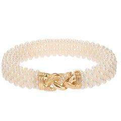 Freshwater Pearl Diamond Yellow Gold Multi Strand Bracelet