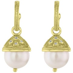 Freshwater Pearl Drop Earring in 14 Karat Yellow Gold-Plated Sterling Silver