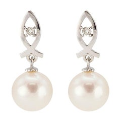 Freshwater Pearl Earrings 14K White Gold Fish and .04ctw Diamond