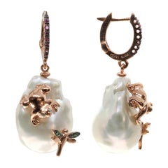 Freshwater Pearl Earrings with Glittering Frog and Dragonfly in 925 Pink Silver