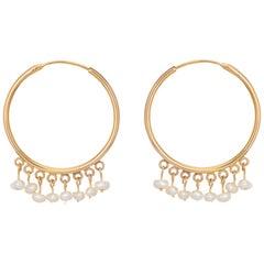 Freshwater Pearl Hoop Earrings Vintage 18 Karat Yellow Gold Estate Fine Jewelry