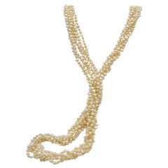 Freshwater Pearl Long Multistrand Necklace with 14 Karat Clasp