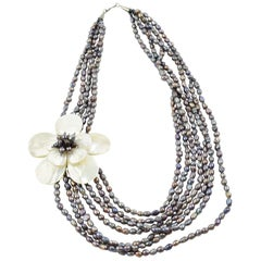 Freshwater Pearl Mother of Pearl Multi Strand Necklace