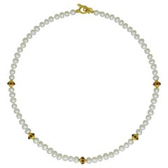 Freshwater Pearl, Ruby and 22 Karat Gold Beaded Necklace