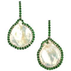 Freshwater Pearl with Tsavorite 1.69 Carat Earrings Set in 18 Karat White Gold