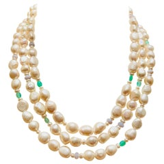 """64"""" Long Freshwater Pearls Necklace Chrysoprase Blue Lace Agate"""