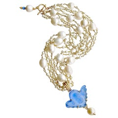 Freshwater Pearls Cornflower Blue Venetian Glass Intaglio Cameo Cherub Necklace