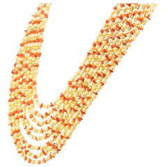 Freshwater Pearl Peridot Red Coral Golden Silver Multi Strand Channel Necklace