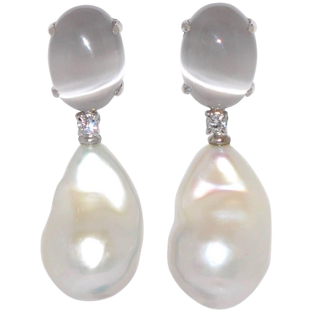 Freshwater Pearls, Quartz and White Diamonds on White Gold Chandelier Earrings