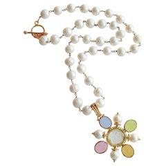 Freshwater Pearls Removable Venetian Pastel Intaglio Maltese Cross Pendant