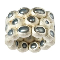 Freshwater Pearls, Silver 925, Copper Thick Pearl Ring Band