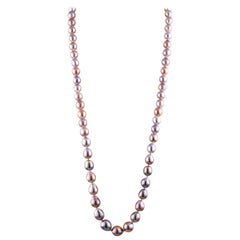 Freshwater Pink Baroque Rope Pearl Necklace with 18 Karat White Gold Clasp