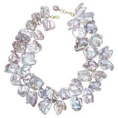 Gabrielle Sanchez Freshwater Ruffle 18 Karat Link Clasp Necklace