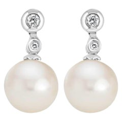 Freshwater White Pearl and Diamond 14 Karat White Gold Earrings