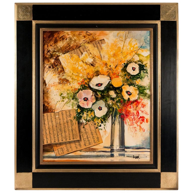 Frey Jean-Pierre Acrylic on Canvas, Bouquet and Musical Anemones Flower For Sale